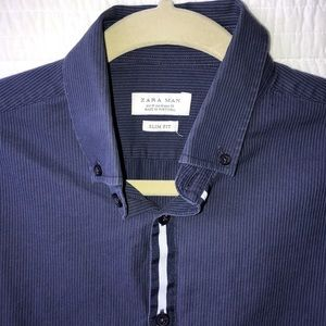 Zara Man Cotton Blue on Blue Pinstripe Shirt - MD